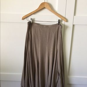 Garnet Hill flare skirt, tan, size L